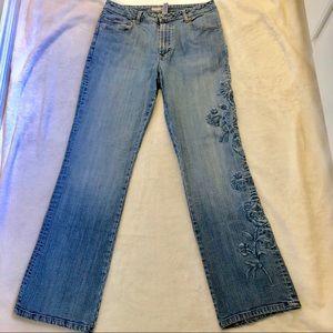 Chico's Platinum Denim Embroidered Jeans - Size 1